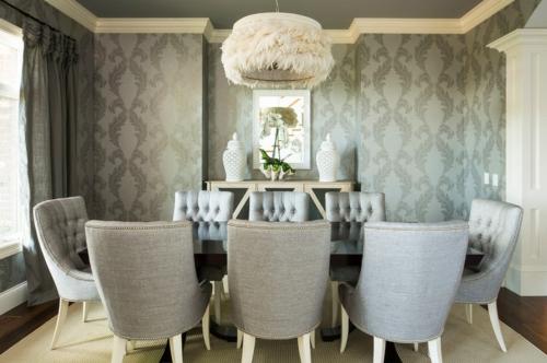 Innenarchitekt design wohnzimmer tapeten gemustert grau