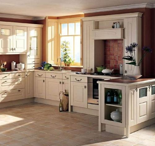 Küche Landhausstil gestalten authentisch bodenbelag fenster
