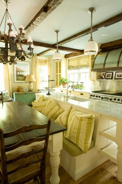 Küche  Landhausstil gestalten authentisch grün auflagen kissen