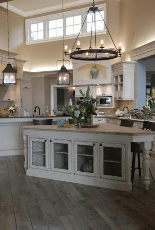 Küche Landhausstil gestalten bodenbelag arbeitsplatte