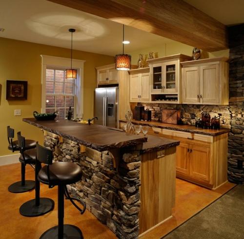 Küche im Landhausstil gestalten naturstein küchenschrank