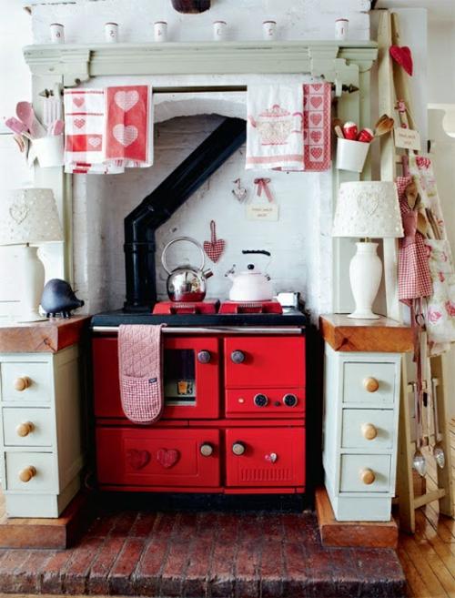 Küche Im Landhausstil Gestalten Rot Herd Oberfläche