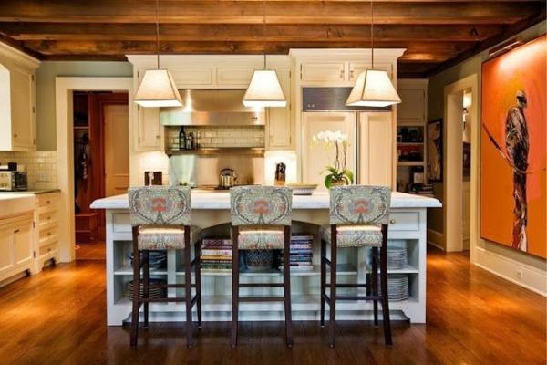 Küchen im Landhausstil esstisch küchenhocker lehnen