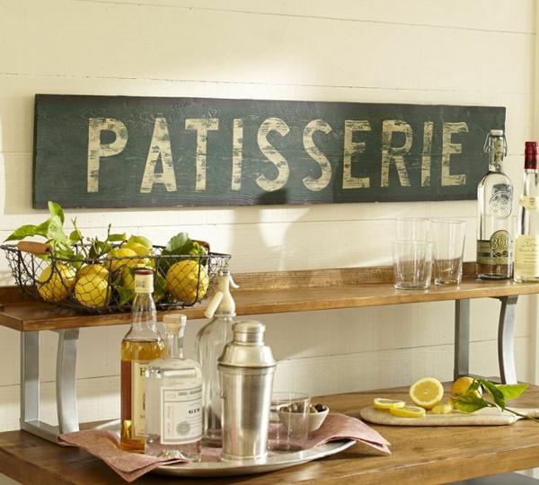 Küchen Designs im Landhausstil esstisch korb zitronen