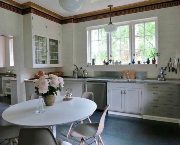 Küchen  im Landhausstil esstisch oval tischplatte weiß