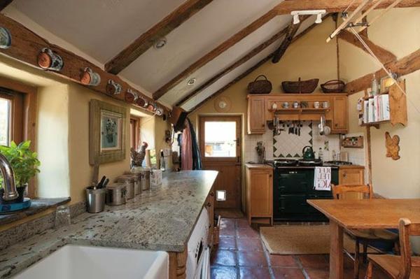 Küchen Designs im Landhausstil esstisch stühle arbeitsplatte