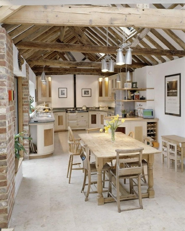 Küchen Designs Landhausstil esstisch stühle holz balken
