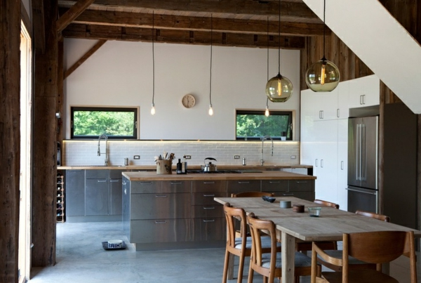 Küchen Designs  Landhausstil esstisch stühle lampen kugel