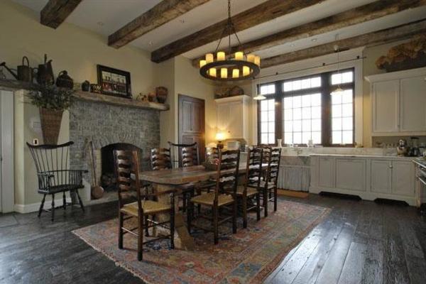 Küchen Designs  Landhausstil esstisch stühle perserteppich