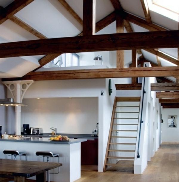 Küchen Designs im Landhausstil esstisch treppe dach