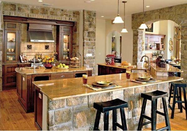 Küchen Designs mit Naturstein gestaltet barhocker