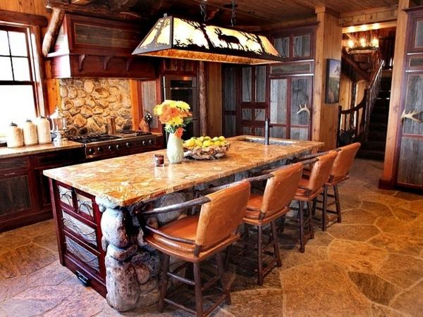 Küchen Design Naturstein gestaltet beleuchtung