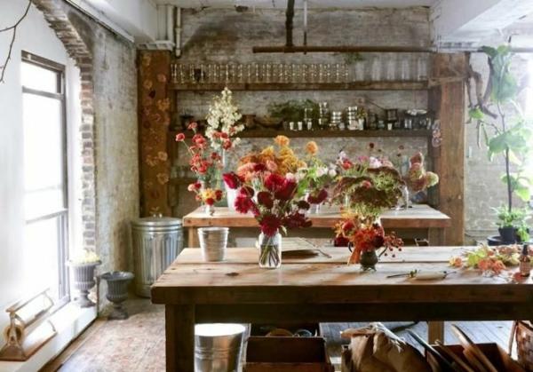 Küchen Design Naturstein gestaltet blumen