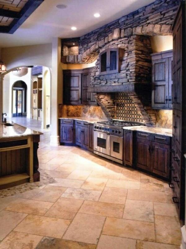 Küchen Design Naturstein gestaltet bodenfliesen
