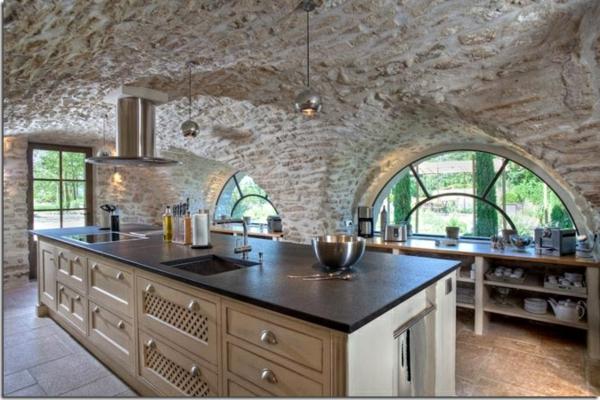 Küchen Design  Naturstein gestaltet fenster kochplatte