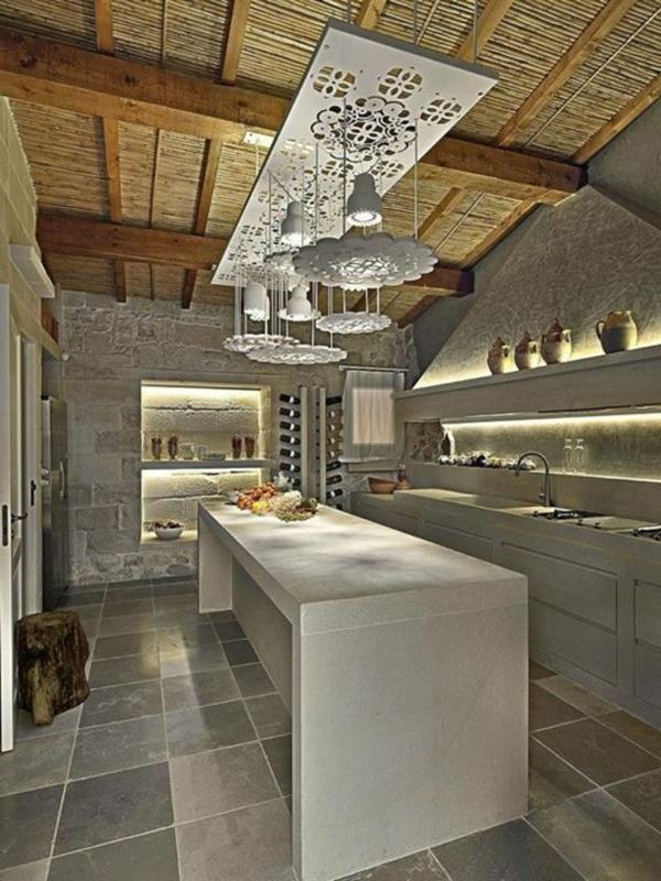 Küchen Designs Naturstein gestaltet hängelampen