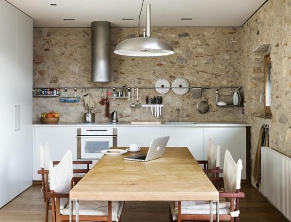 Küchen Design Naturstein gestaltet holztisch massiv