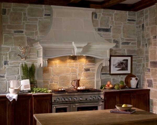 Küchen Designs Naturstein gestaltet kochherd