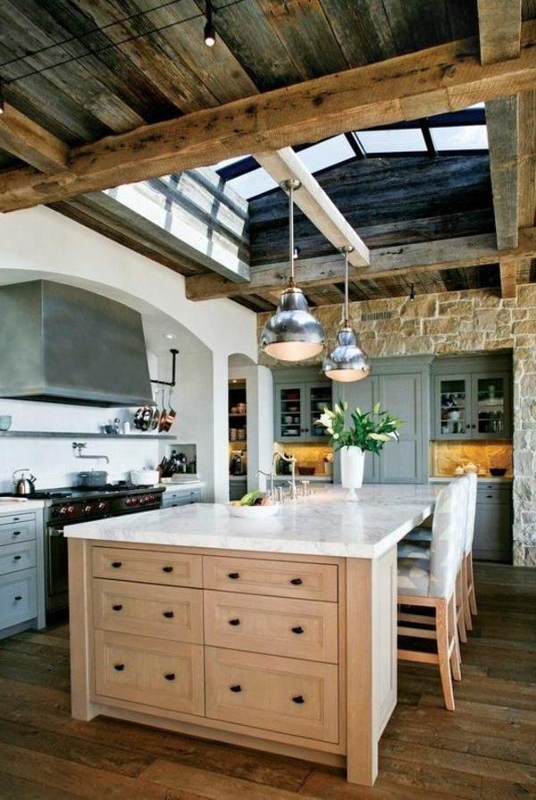 Küchen einrichtung mit Naturstein gestaltet marmor arbeitsplatte schubladen