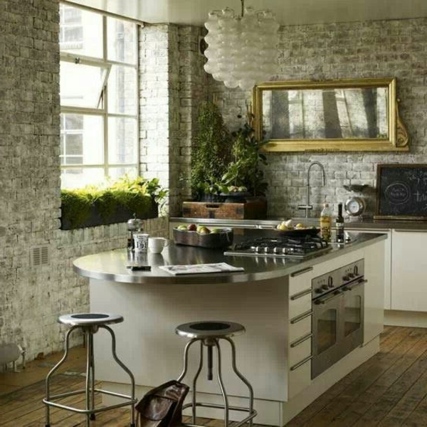 Küchen mit Naturstein gestaltet pflanzen frisch spiegel wand