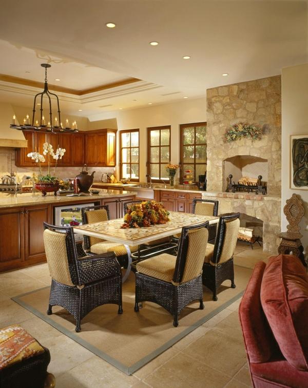 Küchen Designs Naturstein gestaltet rattan möbel