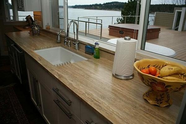 Außergewöhnlich Arbeitsplatte Eiche Holz Fenster Meer Küchen