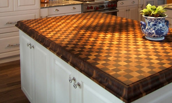 Küchenarbeitsplatte eiche holz schachbrett