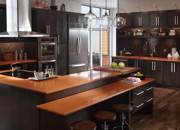 arbeitsplatte Küchen eiche holz stufen ebene schwarz
