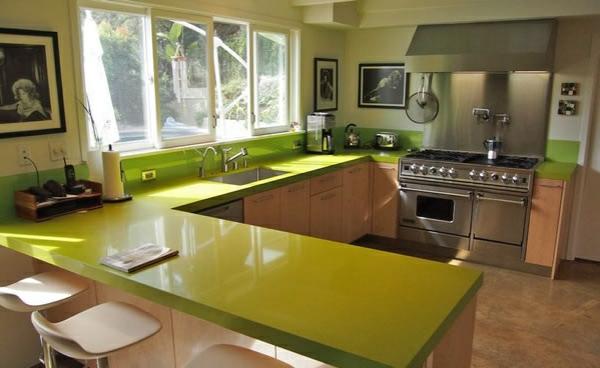 Küchenarbeitsplatte eiche lackiert grün