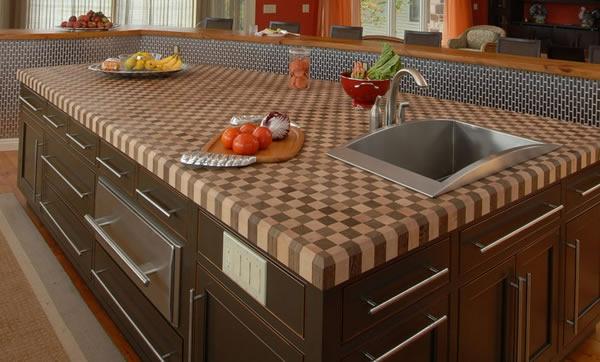arbeitsplatte granit gewunden spüle frisch essen gemüse Küchen