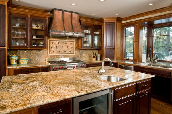 Küchenarbeitsplatte granit massiv spüle holz küche