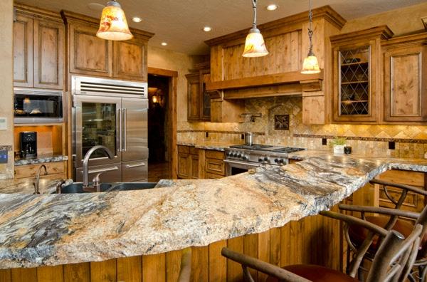 arbeitsplatte Küchen granit oberfläche spüle kühlschrank