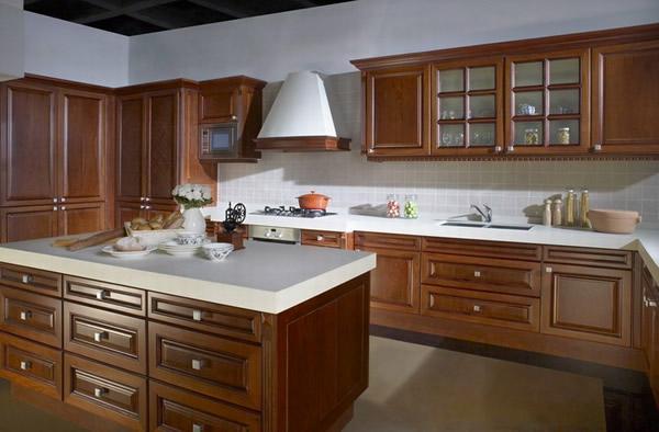 arbeitsplatte Küchen sachlich weiß holz schubladen