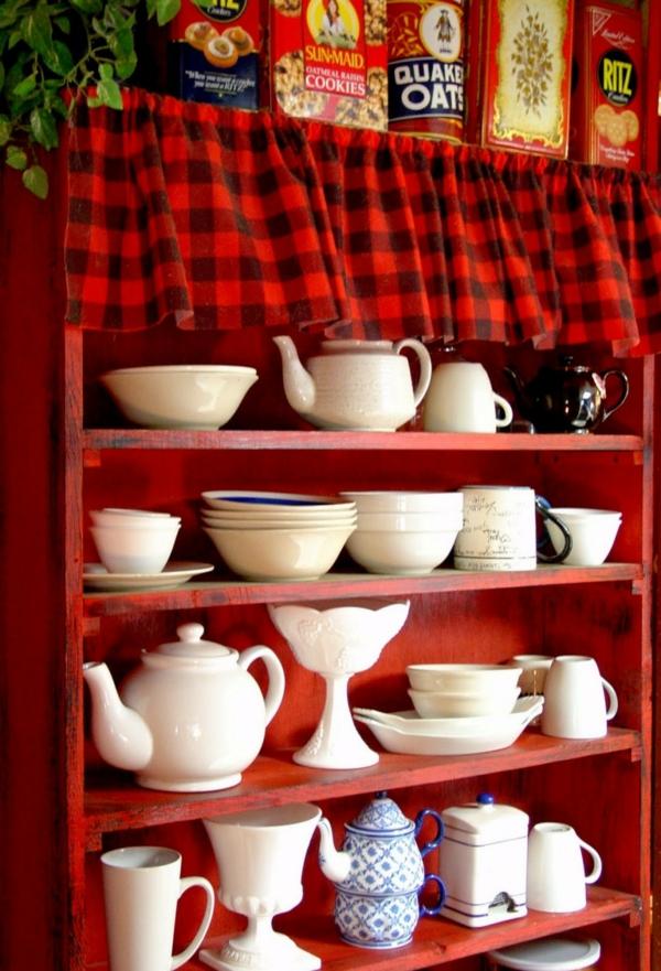 KücKüchenschrank  Küchenregal organisieren geschirr rot regale holz