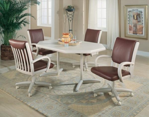Küchentisch mit Stühlen braun leder weiß tisch teppich