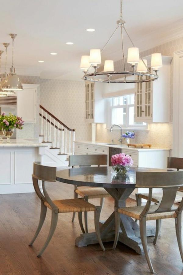 Küchentisch Stühlen grau metall holz rund tischplatte
