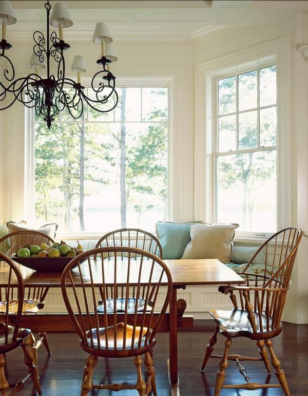 küchentisch Stühlen holz wurfkissen auflagen kronleuchter