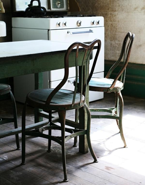 Küchentisch mit Stühlen rustikal ländlich metall