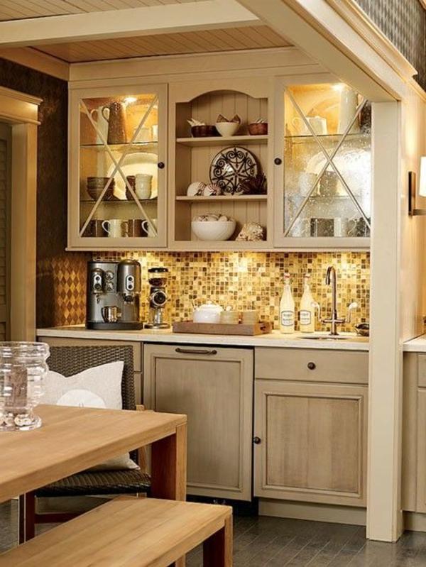Kaffeebar in Ihrer Küche gestalten indirekte beleuchtung weich