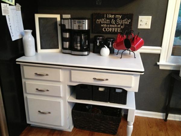 Kaffeebar Küche gestalten kommode korb