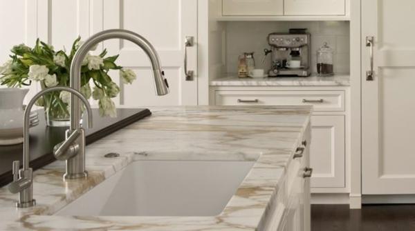 Kaffeebar in Ihrer Küche gestalten marmor platte spüle