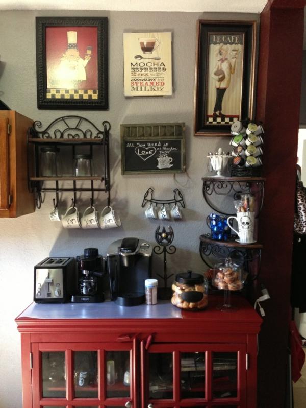 Kaffeebar Küche gestalten schiene tassen porzellan