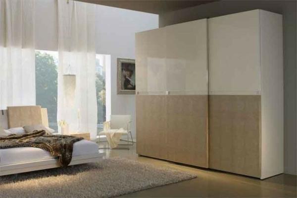 Kleiderschrank mit Schiebetüren schlafzimmer beige glanzvoll