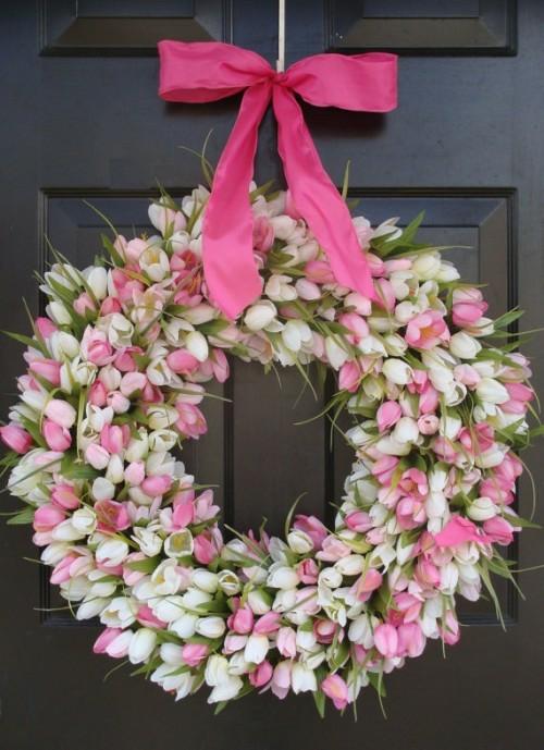 Kranz  Frühlingsblumen basteln blüten tulpen rosa weiß
