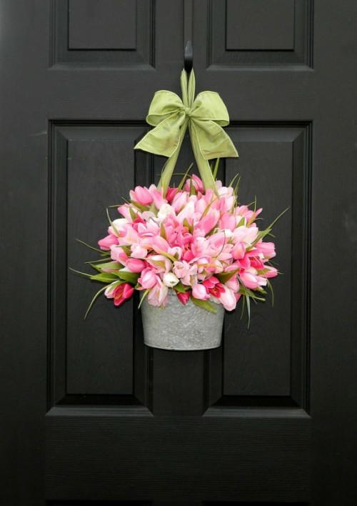 Kranz  Frühlingsblumen basteln blumentopf