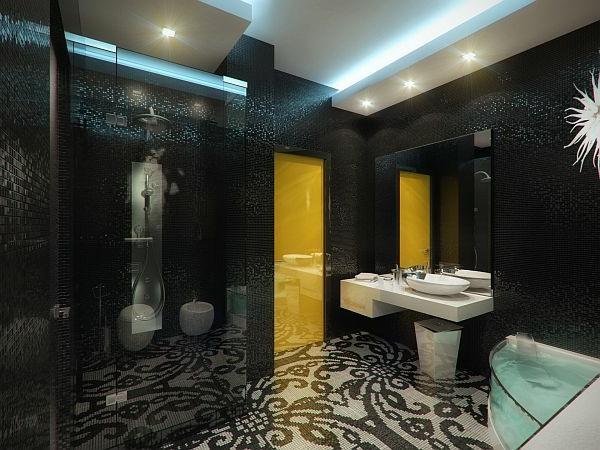 Luxus Apartment in Gelb und Schwarz badezimmer blumenmuster