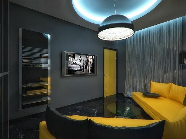 Luxus Apartment in Gelb und Schwarz glanzvoll gardinen