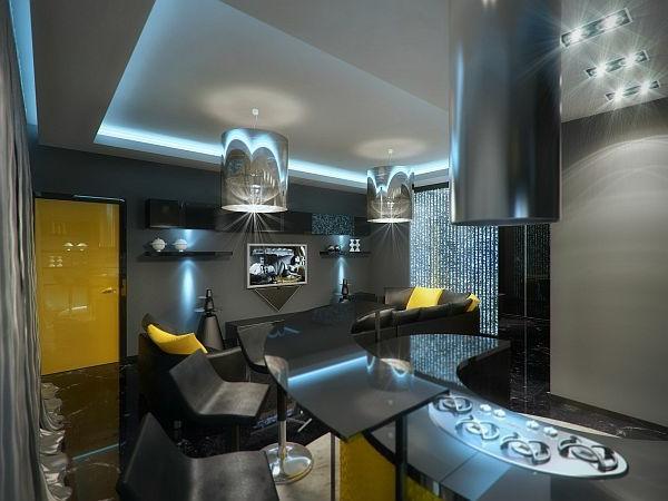 Luxus Apartment in Gelb und Schwarz glanzvoll tür