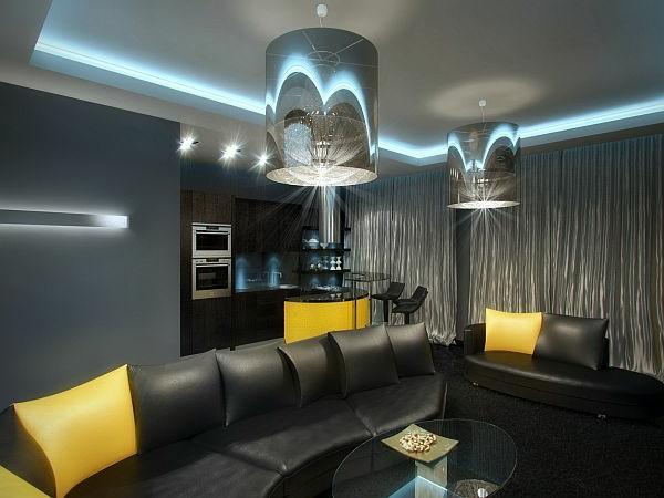 design : wohnzimmer schwarz weiß gelb ~ inspirierende bilder von ...