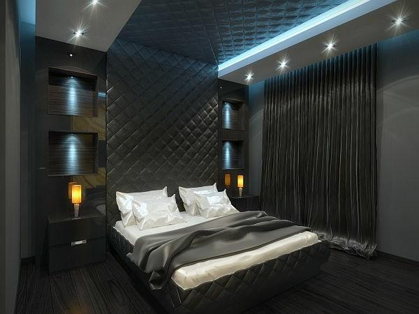 Luxus Apartment in Gelb und Schwarz schlafzimmer gepolstert